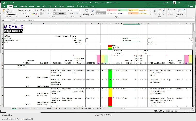 FMEA screenshot Excel
